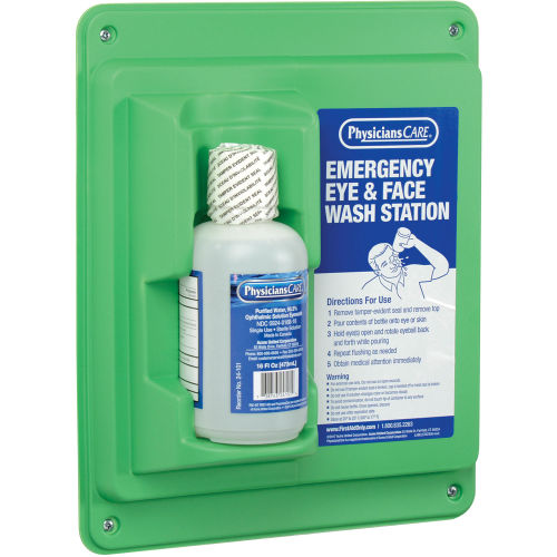 PhysiciansCare® Wall Mount Eye Flush Station, Single, 16 Oz. Bottle, 24-000AOSS Medical SupplyEye WashAOSS Medical Supply