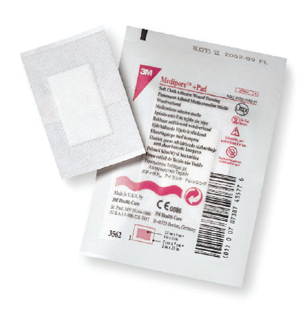 "3M™ Medipore™ +Pad Soft Cloth Adhesive Wound Dressing, 3½"" x 13¾"", Pad Size 1¾"" x 11¾"" (STERILE)"