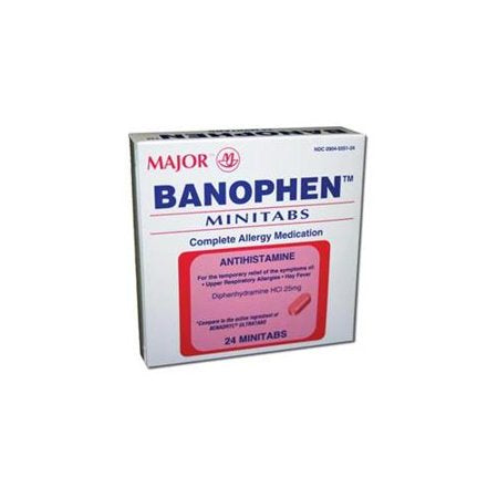 Major Banophen Allergy Relief Antihistamine Capsules, 25mg, 100 ct