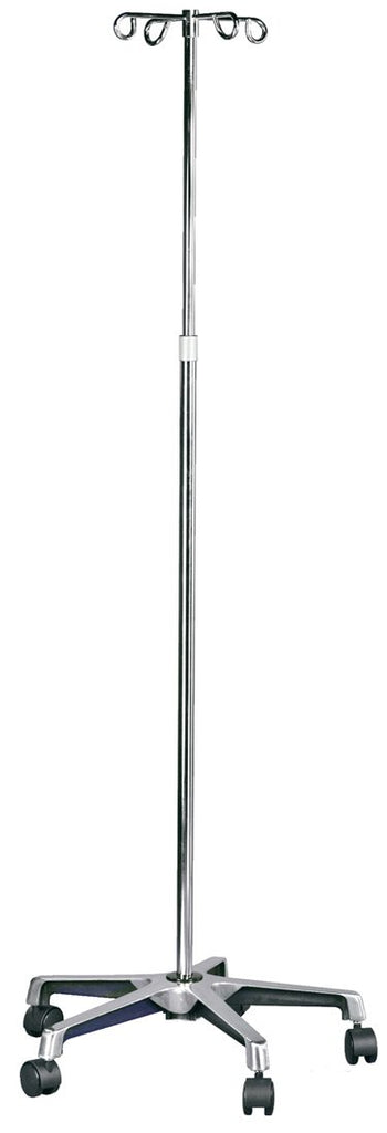 "MABIS Adjustable-Height I.V. Pole, 5 Casters, 82"", SilverMabisIV PoleAOSS Medical Supply"