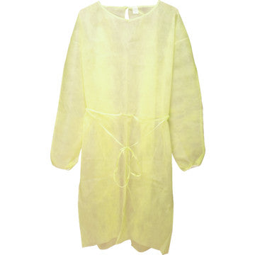 Isolation Gown AOSS One Size Fits Most Unisex Yellow - Fluid Repellant - 50/ CASE
