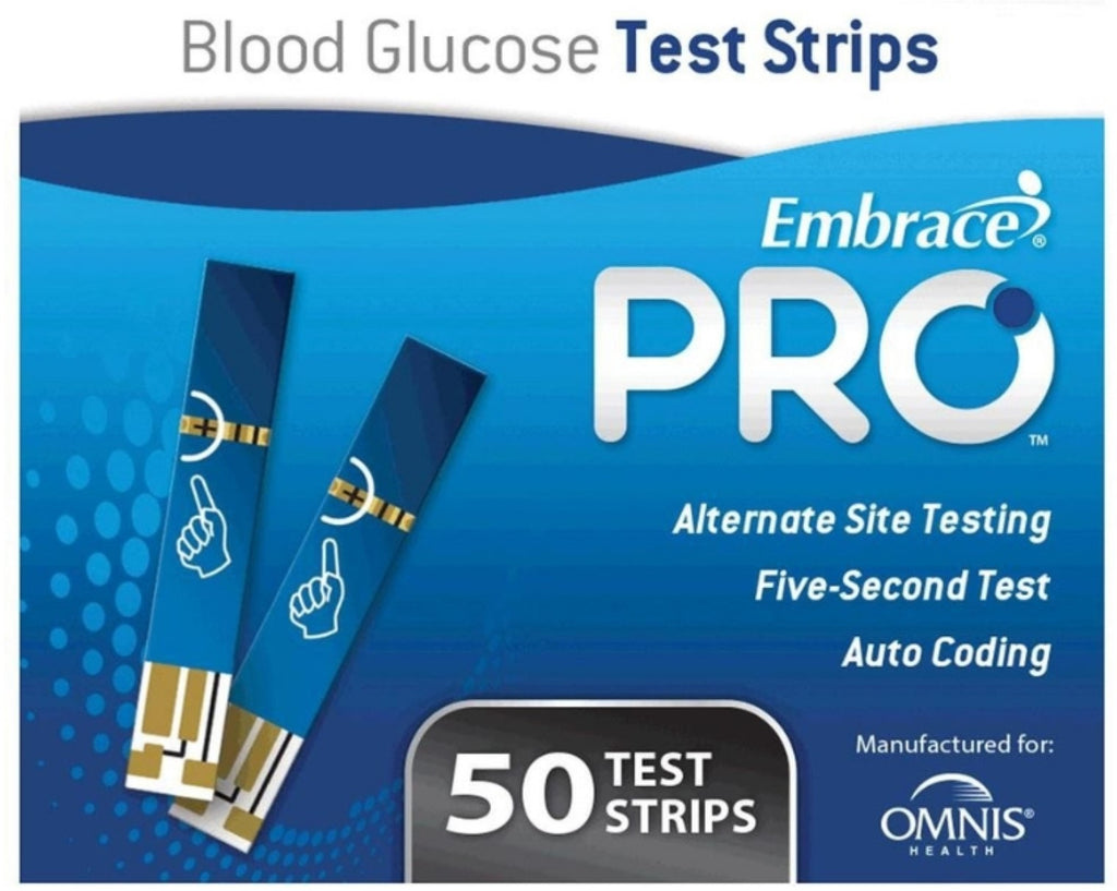 Embrace Pro Blood Glucose Meter Strips- 50/BXOmnis HealthBlood Glucose Monitor StripsAOSS Medical Supply