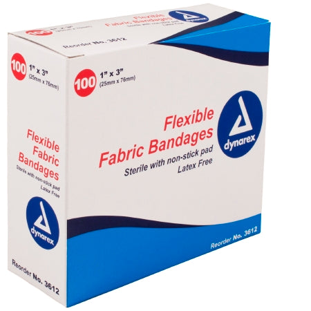 "Flexible Fabric Bandages 1"" x 3"" (#3612CASE) - Adhesive Strip Dynarex"