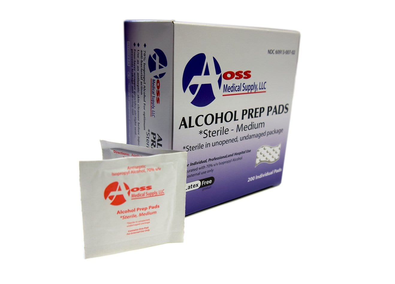 Alcohol Prep Pad AOSS Isopropyl Alcohol, 70% Individual Packet Medium Sterile
