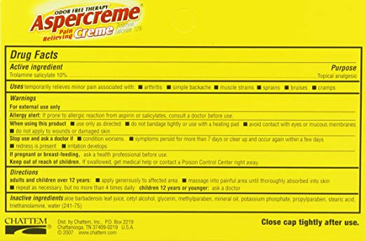 Aspercreme Pain Relieving Creme with AloeChattem, IncPain Relieving CremeAOSS Medical Supply