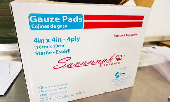 2 X 2 Inch, 4-Ply (Sterile) Gauze Pad AOSS - BOX or CASE [AOSS8042]
