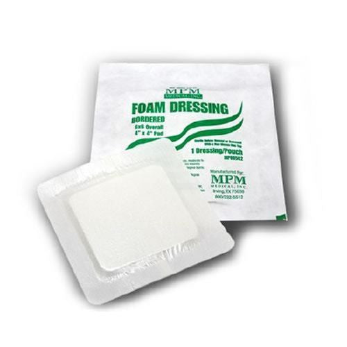 MPM Foam Dressing, Sterile, 4 x 4 Square with Border, Fenestrated (30/BAG)