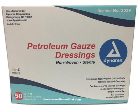 "Dynarex Petroleum Gauze Dressing 3"" x 9""DynarexPetroleum Gauze DressingAOSS Medical Supply"