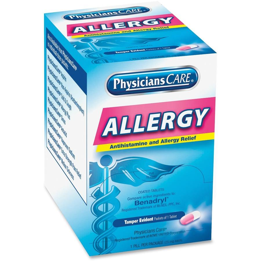 PhysiciansCare® Allergy Relief Tablets, 1/pk, 50 pk/bx, 12bx/csFirst Aid OnlyAllergy MedicationAOSS Medical Supply