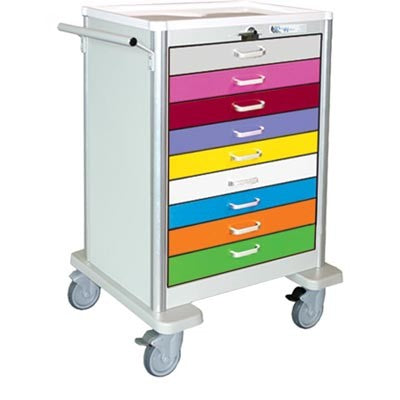 Quantum Medical Crash Cart 9 Drawer Tall Pediatric Gray/ Multicolor Lever Lock