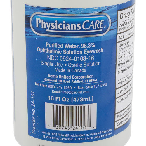 PhysiciansCARE® 16 oz. Sterile Solution Emergency Eye Wash Station Refill BottleAOSS Medical SupplyEye WashAOSS Medical Supply