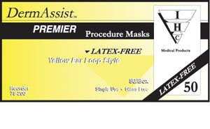 Procedure Mask Innovative DermAssist™ Premier Pleated Earloop Latex Free (Blue, Pink or Yellow)