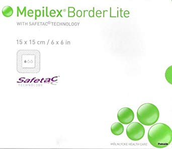 "Molnlycke Wound Care Mepilex Border Lite 6"" X 6""Molnlycke Health Care US, LLCWound DressingAOSS Medical Supply"