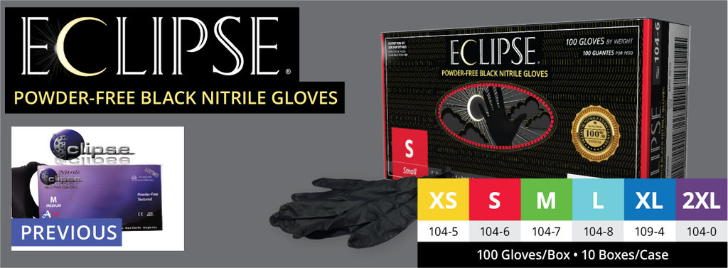 1000/Case Eclipse® Black Powder-Free Nitrile Examination Gloves (Non Latex) All SizesAOSS Medical SupplyExam GlovesAOSS Medical Supply