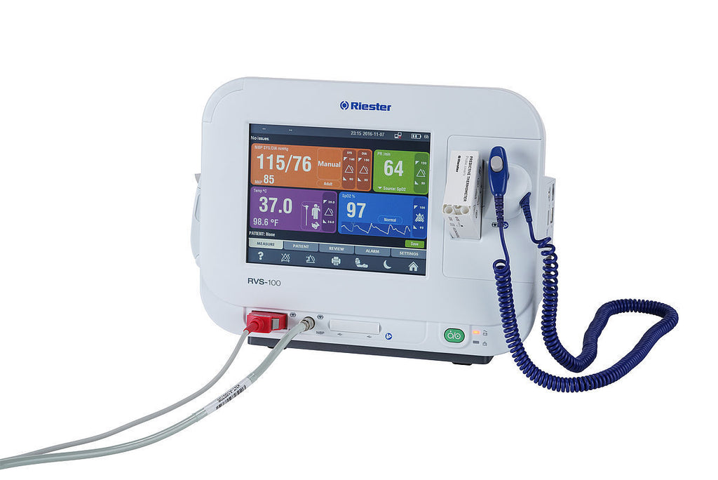 Riester RVS 100 Advanced Vital Signs Patient Monitor with NIBP SpO2 Temp. & Printer 1960-RRBPU NIBP, Riester SpO2, Temp, Printer, US-plug  Please note picture is display purposes only. See below for all accessories comes with the unit.  Other Available Configurations:  1960-RRXXU	NIBP, Riester SpO2, US-plug ebay item # 323175621689 - $1,699.00 1960-RRBXU	NIBP, Riester SpO2, Temp, US-plug ebay item # 323175636127 - $2,125.00   Riester's RVS-100 is an advanced vital signs monitor which offers pulse oximetry,