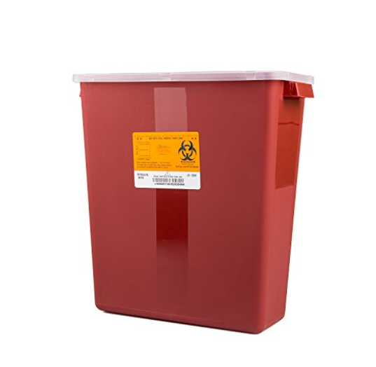 3 Gallon Sharps Container 2-Piece 13.5H X 12.5W X 6D Inch Red Base Horizontal Entry LidAOSS Medical SupplySharps ContainerAOSS Medical Supply