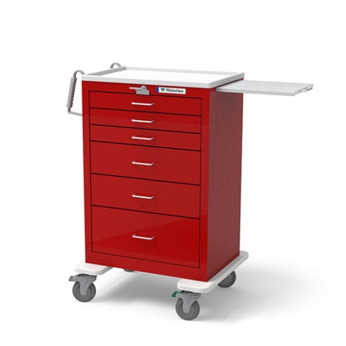 Quantum Medical Crash Cart 6 Drawer Light Gray Exterior Red Drawers Lever Lock