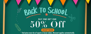 Back to School Offer: Buy One Get One 50% OFF Sitewide