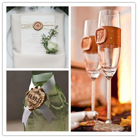 Wedding Wax Seals on Menu Bottles and Glasses