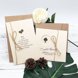 Metal Trinket Greeting Card with Hemp Twine