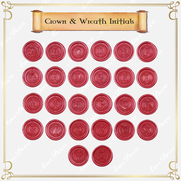Crown Wreath Single Initial Wax Seal Stamp