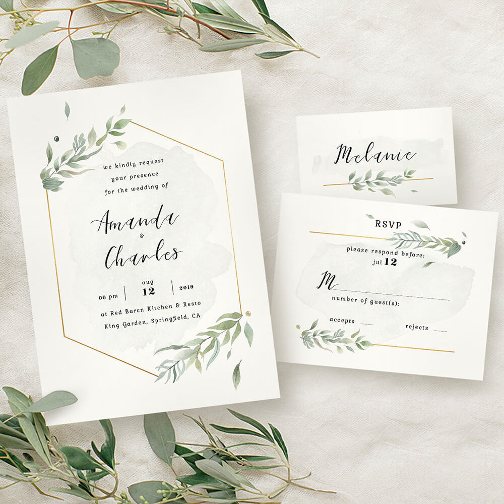 elegant foliage printable invitation design suite amz deco