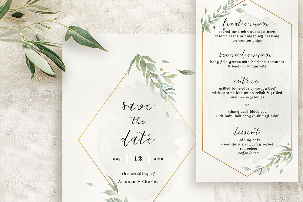 Elegant Foliage Printable Wedding Invitation Suite