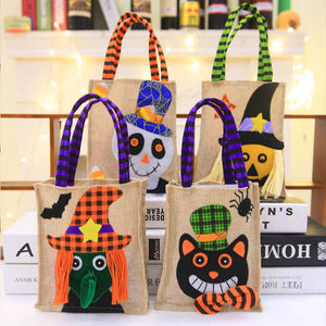 Linen Halloween Trick or Treat Candy Bag