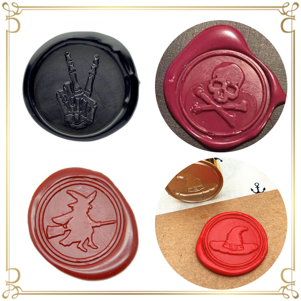 Vintage Retro Broom Witch Bat Sealing Wax Stamp for Letter Cards Invitations Pumpkin Wax Seal Stamp Series 2 ANBOSE Halloween Skeleton Wax Sealing Stamp with Wooden Handle Copper Seals