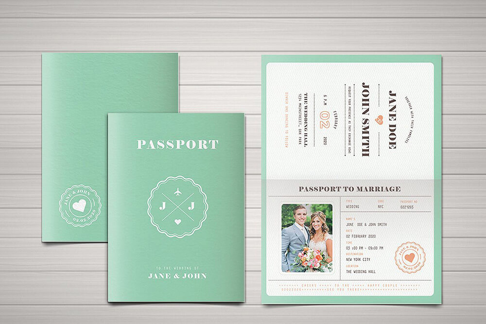 Printable Passport Invitation Design Suite Featuring Couple S Photos