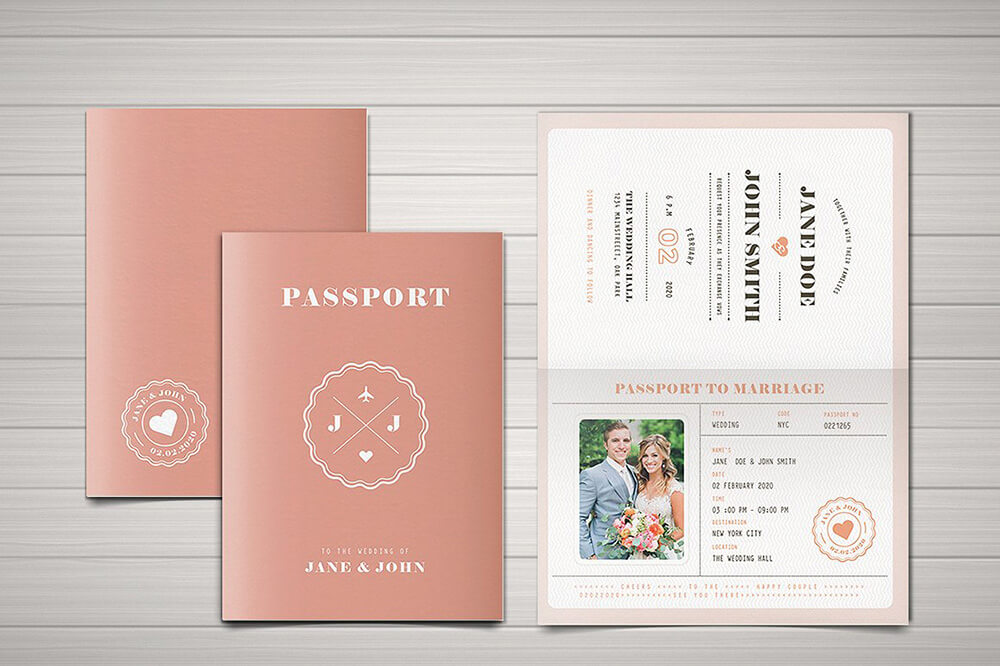 Printable Wedding Passport Invitation Design Suite Featuring Couple's Photos