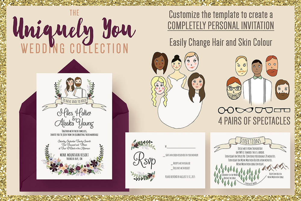 Printable Cute Wedding Invitation Design Suite Featuring Bride & Groom Cartoon Images