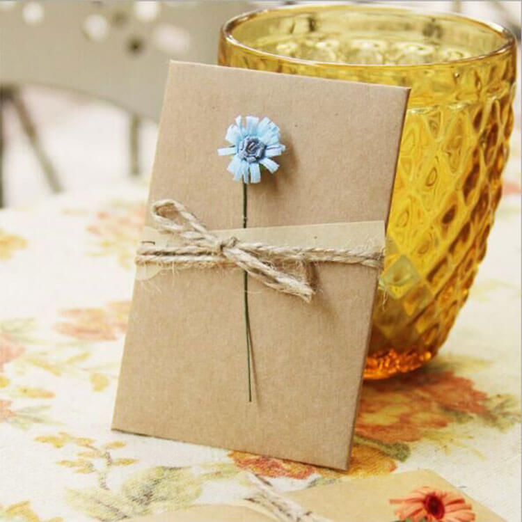 Silk Flower Kraft Greeting Card with Envelope