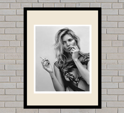 Kate Moss Black & White Framed Portrait