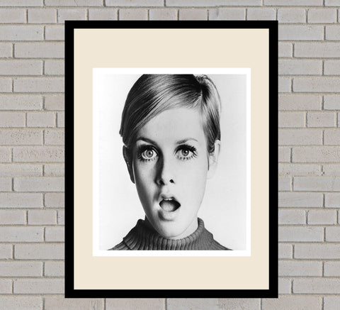 Twiggy Black & White Framed Portrait