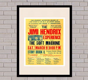 Stony Brook Vintage Music Concert Art Print Poster Soft Machine Jimi Hendrix