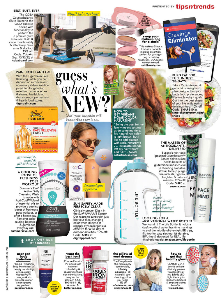 subtl beauty featured in Shape Magazine
