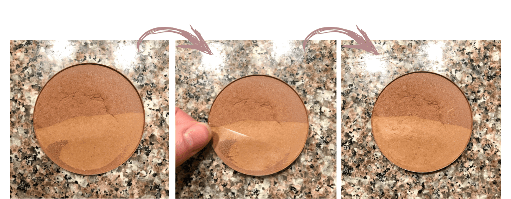 Fix hardpan on your pressed powder by taking tape and lifting the top layer off the powder