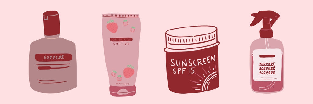 Doodles of skincare products.