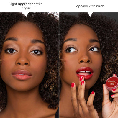 model showing the subtl beauty riveting red vegan lip and cheek application methods as a finger application method and a brush application method. Applying this lip and cheek product with a brush will give a more intense color payoff whereas the finger application shows a more natural tint.