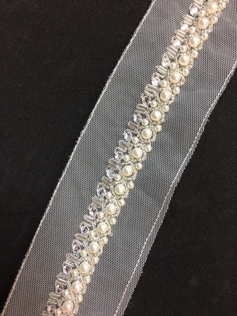 Beaded Trim - [1.7cm] Ivory Pearls X Pattern Silver Beads and Crystals - AU