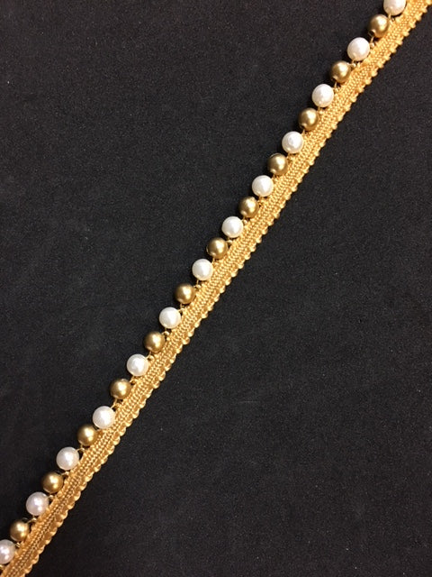 Beaded Trim - Ivory and Gold Pearls [1cm] [per m] - AU