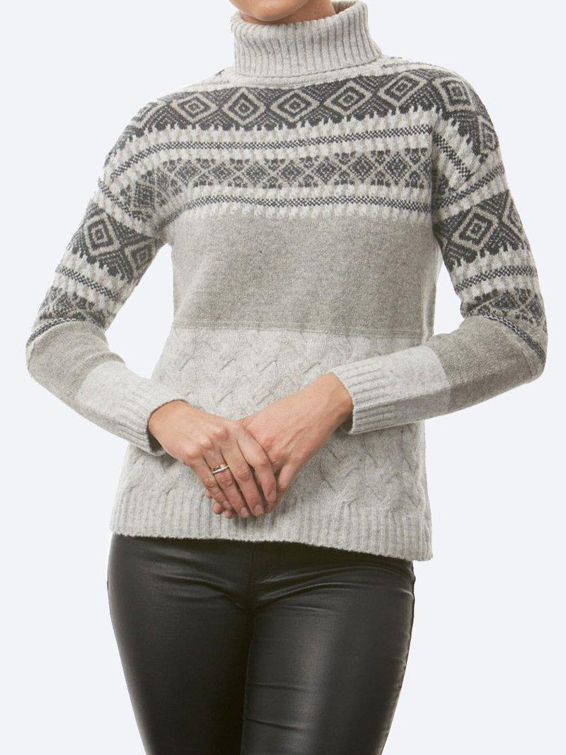 BRIDGE & LORD ALPACA BLEND JACQUARD AND CABLE ROLL NECK JUMPER