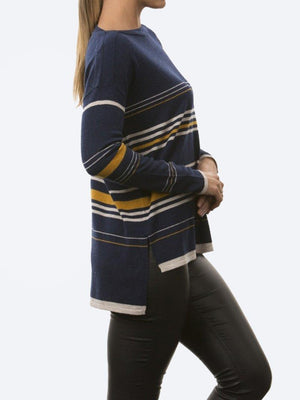 BRIDGE & LORD STRIPE BOAT NECK KNIT
