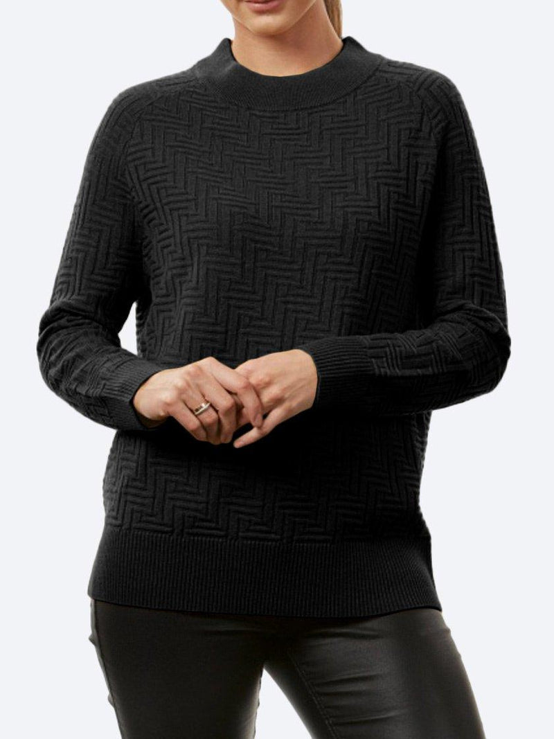 BRIDGE & LORD MERINO/CASHMERE PATTERN STITCH PULLOVER