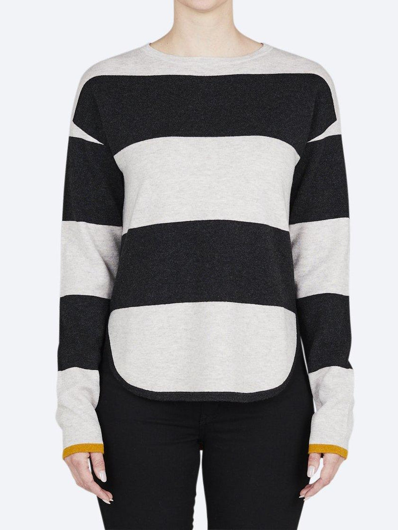 BRIDGE & LORD MERINO/CASHMERE CURVED HEM STRIPE JUMPER