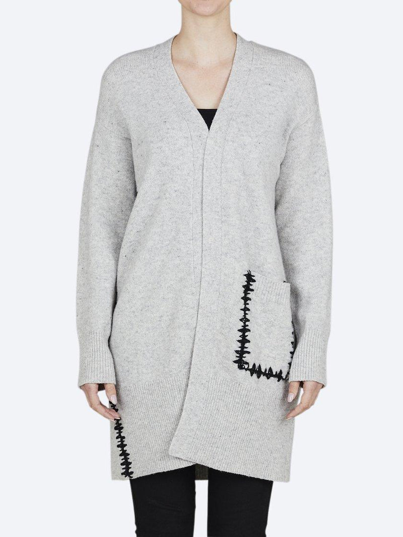 BRIDGE & LORD MERINO/CASHMERE STITCHED SEAM LONGLINE CARDIGAN
