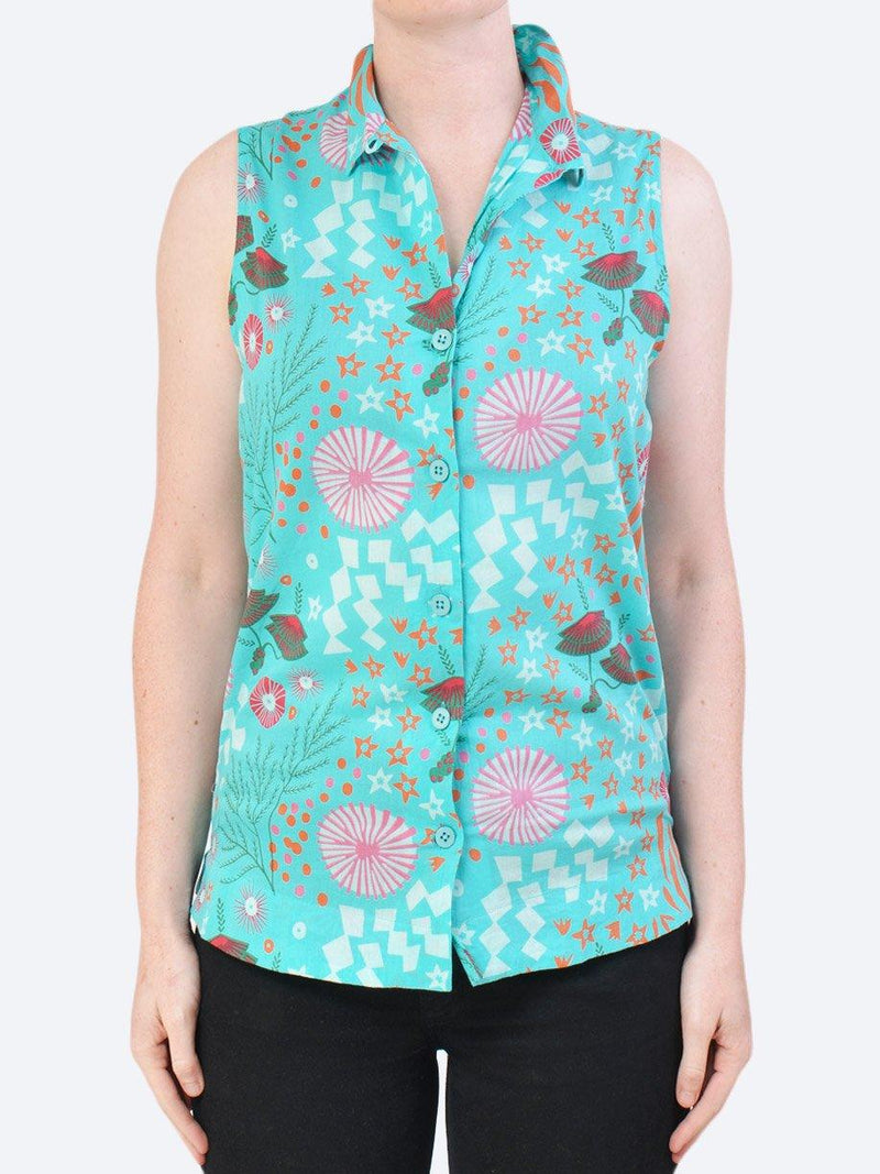 CAKE KAREN COTTON SLEEVELESS SHIRT