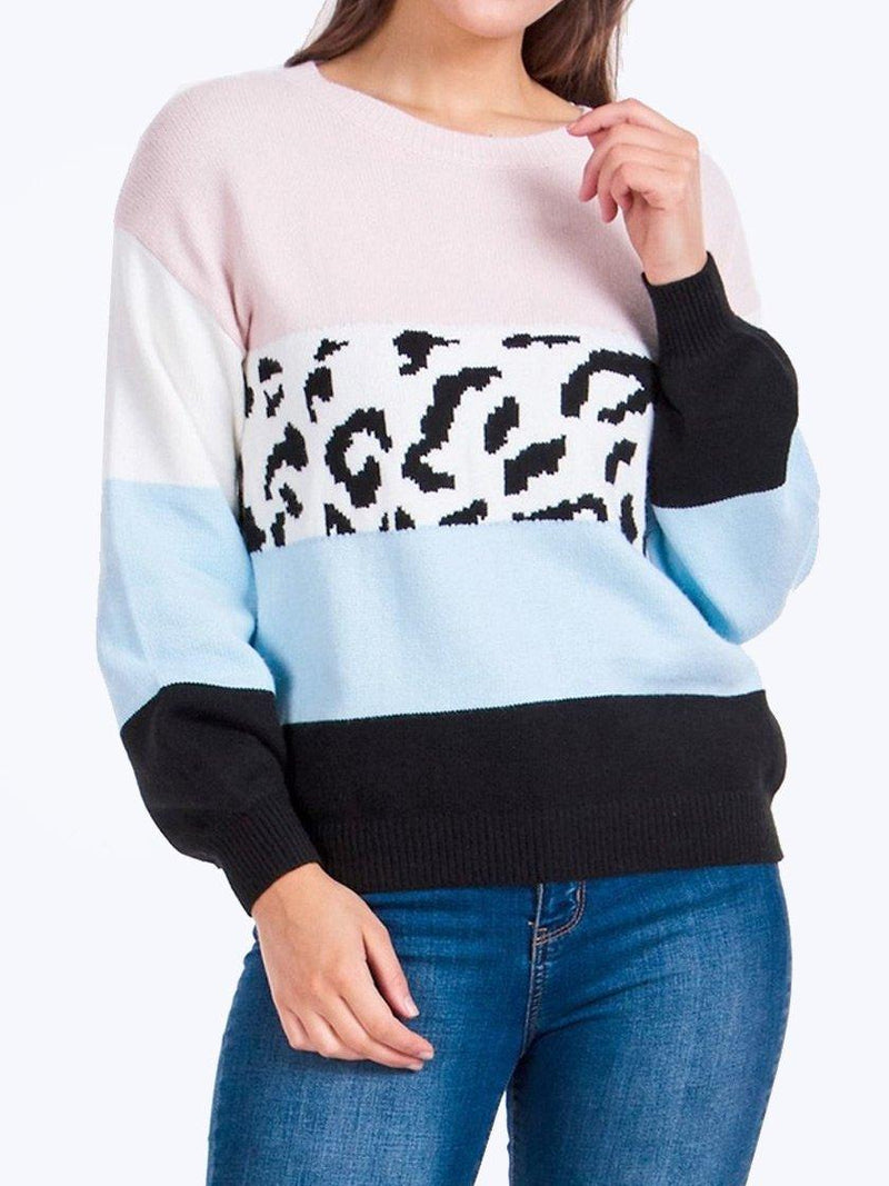 CAROLINE MORGAN ANIMAL CONTRAST KNIT