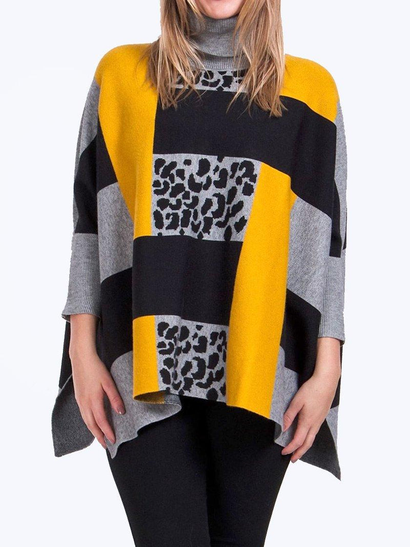 CAROLINE MORGAN OVERSIZED ANIMAL BLOCK PONCHO PULLOVER